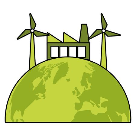 factory planet windmill eco friendly environment vector illustration