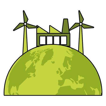 factory planet windmill eco friendly environment vector illustration Archivio Fotografico - 130074566