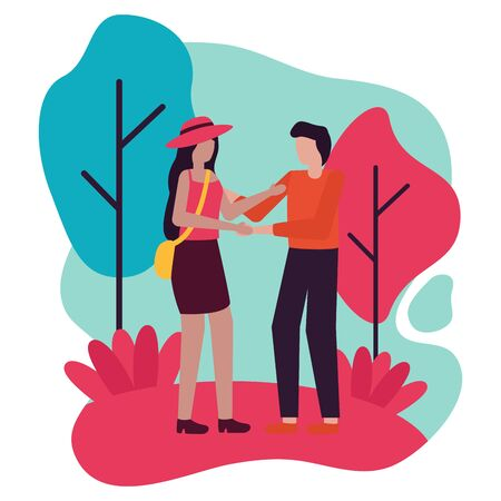 young lovers couple in the field vector illustration design