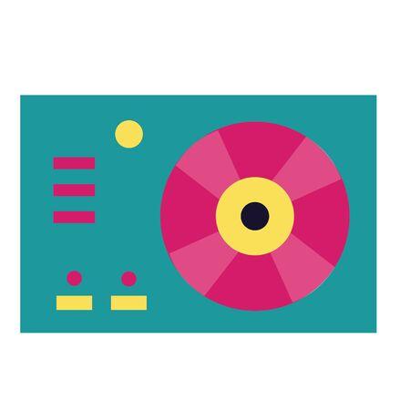 turntable vinyl record on white background vector illustration