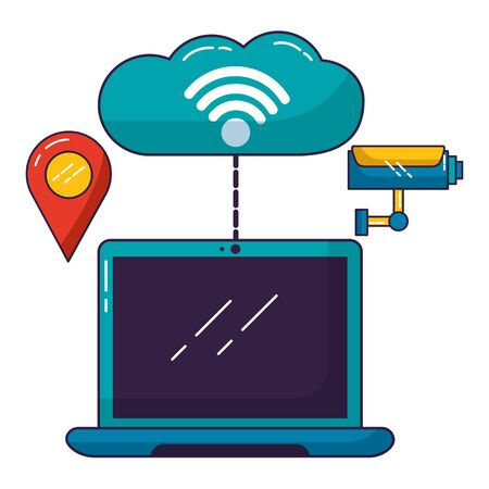 laptop cloud computing surveillance wifi free connection vector illustration