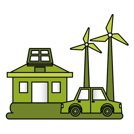 house car windmill solar panel eco friendly environment vector illustration Illustration