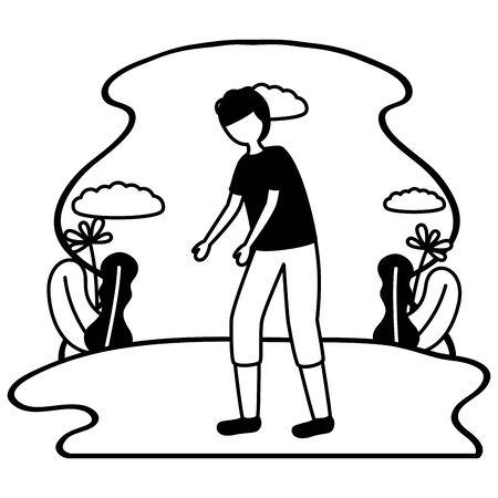 boy with sadness mental depressed vector illustration 向量圖像