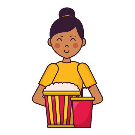 woman pop corn soda film movie vector illustration