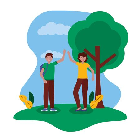 happy young woman and man greeting park vector illustration