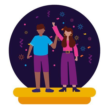 man and woman celebration party birthday vector illustration Иллюстрация