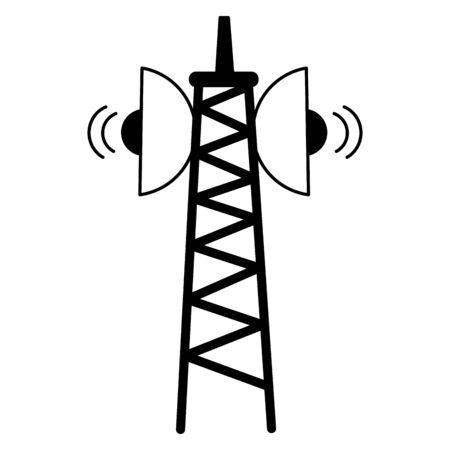 Señal de transmisión de antena en la ilustración de vector de fondo blanco