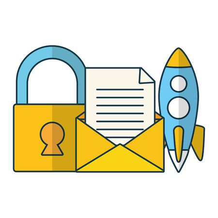 startup security newsletter send email vector illustration