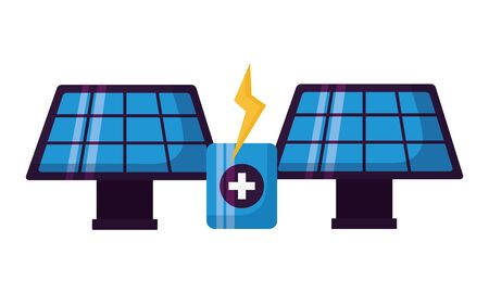 solar panels energy battery charge vector illustration Ilustração