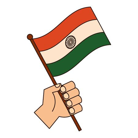 hand with indian flag independence day vector illustration design