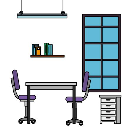 office work place scene icons vector illustration design
