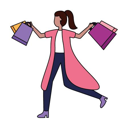 woman with shopping bags market vector illustration Stok Fotoğraf - 130075004