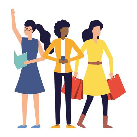 group women with smartphone paper and shopping bag vector illustration Stock Illustratie