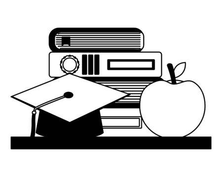 school stack books graduation hat and apple vector illustration Stok Fotoğraf - 130075007
