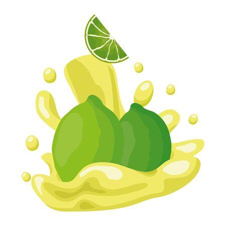 lemon citrus juice splash tropical fruits vector illustration