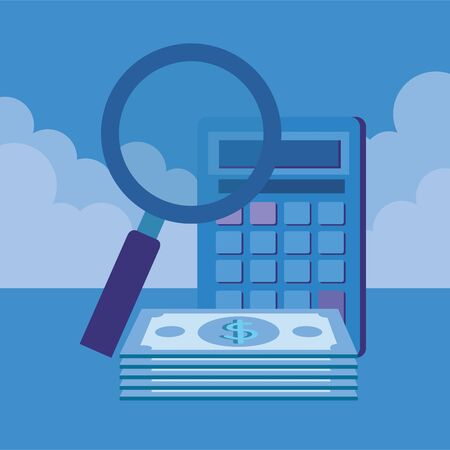 calculator math with magnifying glass and money vector illustration design