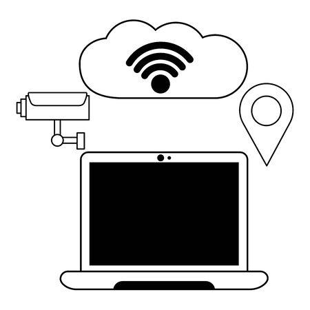 laptop cloud computing surveillance wifi free connection vector illustration