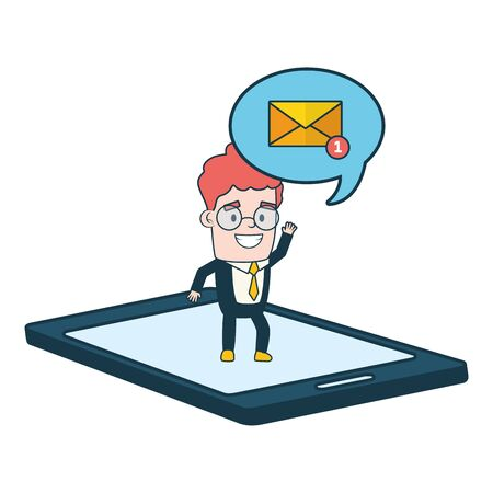 businessman smartphone talk bubble send email vector illustration