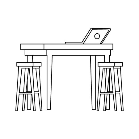wooden benches with table and laptop vector illustration design  イラスト・ベクター素材