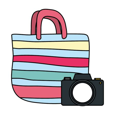 summer time holiday handbag and camera vector illustration