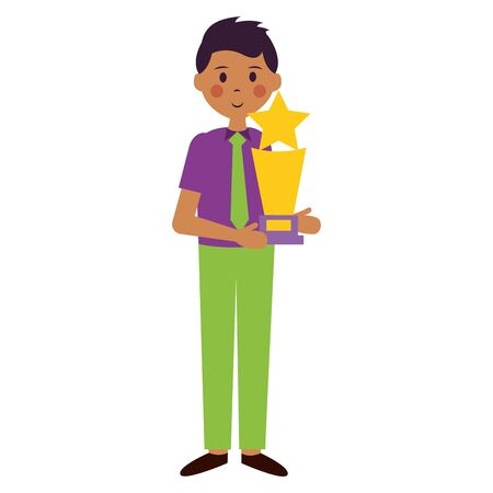 man with award trophy film movie vector illustration Иллюстрация
