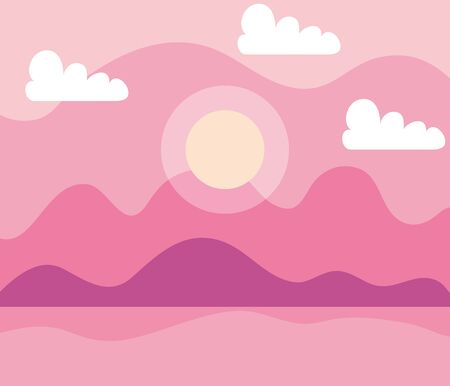 beautiful sun with mountains and pretty clouds to nature landscape, vector illustration