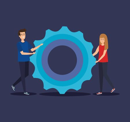 man and woman with office gear information to teamwork strategy vector illustration