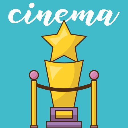 Cinema trophy design, Movie video film media entertainment show and event theme Vector illustration