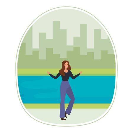 happy young woman in the landscape vector illustration design Ilustração