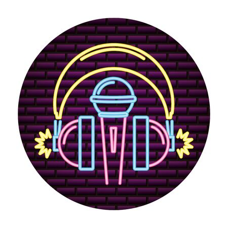 microphone and headphones audio neon vector illustration