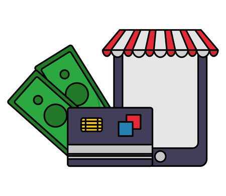 online ecommerce money smartphone bank card vector illustration Ilustracja