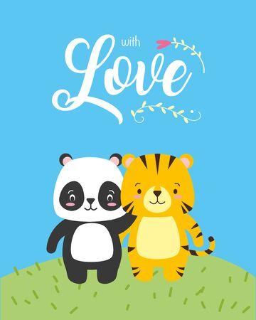 cute panda and tiger animal cartoon  vector illustration design