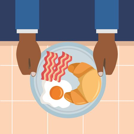 man with breakfast cooking fried eggs croissant bacons vector illustration