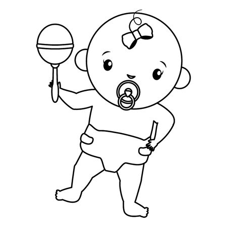 cute girl in diaper with rattle baby shower vector illustration