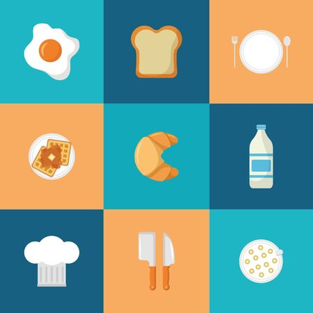 breakfast cooking icons hat knives bread waffle syrup vector illustration