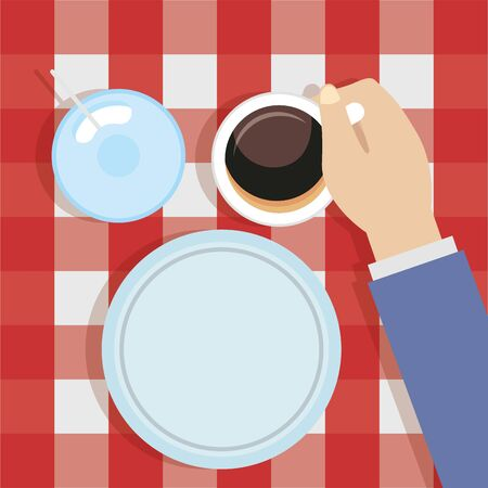 breakfast cooking man with coffee cup plate vector illustration Ilustracja
