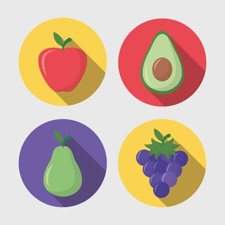 sweet strawberry avocado grapes pear vector illustration Ilustracja