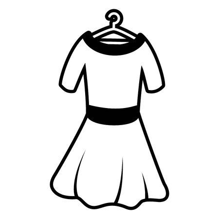 woman dress on hook on white background vector illustration