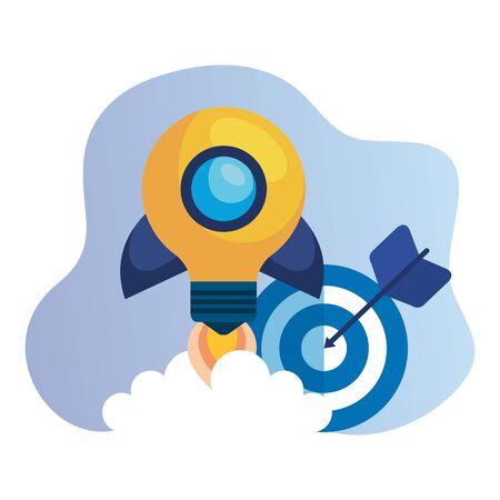 target arrow success with rocket bulb launcher vector illustration design 일러스트