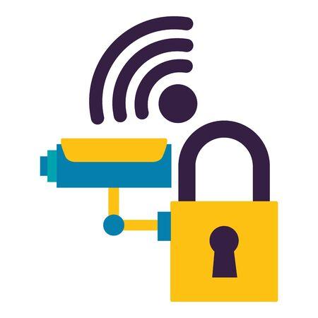 Cámara de vigilancia seguridad internet sobre fondo blanco ilustración vectorial