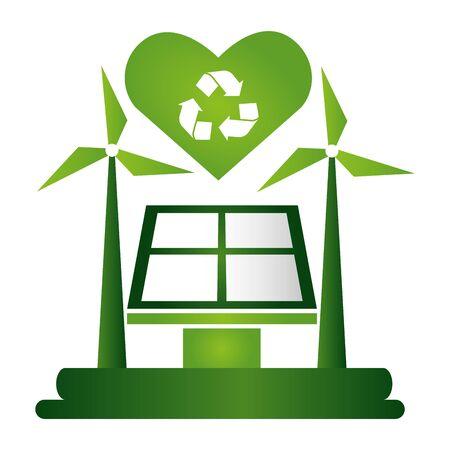 solar panel windmill recycle love eco friendly environment vector illustration Archivio Fotografico - 130082609