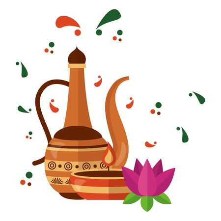 indian lotus with indian jar vector illustration design 向量圖像