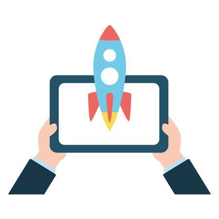 hand with tablet rocket send email vector illustration