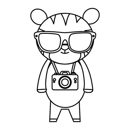 cute tiger with summer sunglasses and photographic camera vector illustration Banque d'images - 132559207