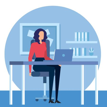 elegant businesswoman worker in the office vector illustration design Ilustracja