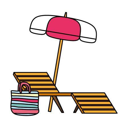 summer time deck chair umbrella and bag vector illustration