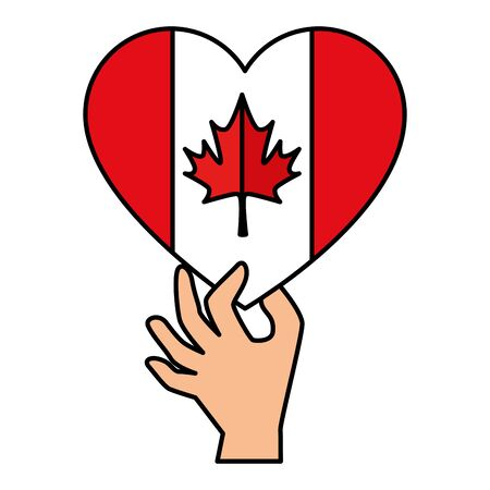 hand lifting canadian flag with heart shape vector illustration design