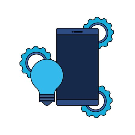 smartphone device with gears settings vector illustration design