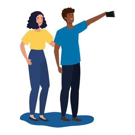 young interracial lovers couple taking a selfie vector illustration design