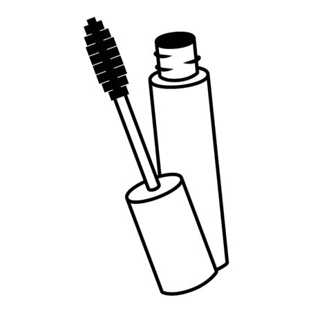 mascara brush female elements icon vector illustration